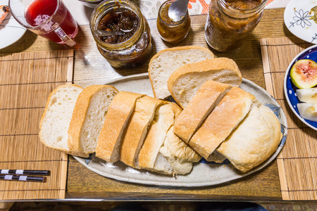 Homemade bread and organic yam from yuzu and fig