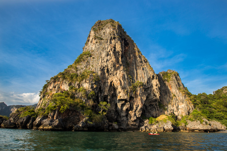 kayaking in Railay beach before sunset in Krabi, Thailand
