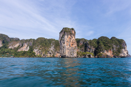 Riding longtail boat to beautiful Ao nang beach in Krabi, Thailand