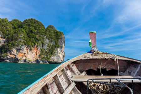 Riding longtail boat to beautiful Ao nang beach in Krabi, Thailand