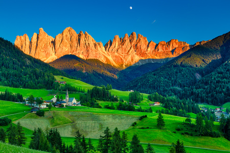 Iconic Dolomites mountain landscape in Santa Maddalena, Funes valley, Italy