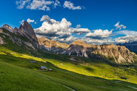 Amazing view of Odle mountain range in Seceda, Dolomites, Italy Banque d'images