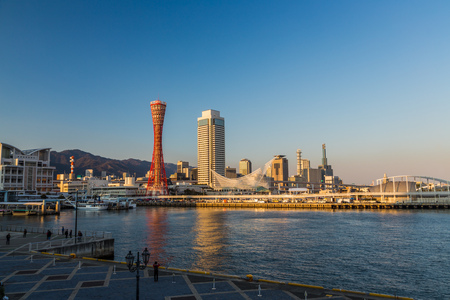 Port of Kobe skyline in the afternoon, Kansai, Japan.