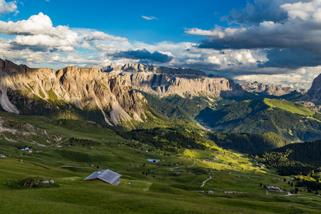 Amazing view of Odle mountain range in Seceda, Dolomites, Italy Stock Photo