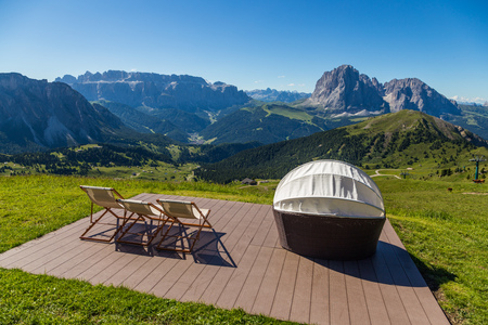 Best place to enjoy Dolomite mountain landscape in Seceda, Italy Stock Photo
