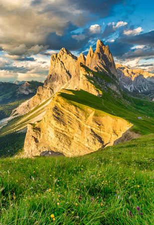 Famous Odle Mountain range at sunset, Seceda, Dolomite, Italy.
