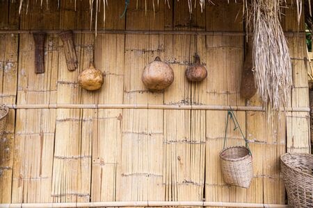 vitage bamboo kitchen wall in rural of Thailand