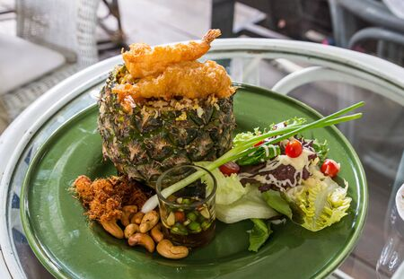 Thai style pineapple fried rice with fried shrimp and cashew Stock fotó