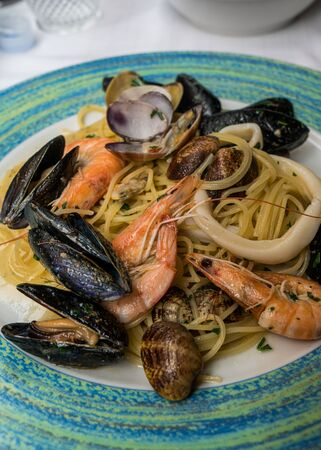 Close up Italian seafood pasta with shrimps, mussels and clams Stok Fotoğraf