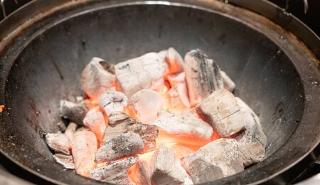 Close up hot charcoal in barbeque grill Banco de Imagens