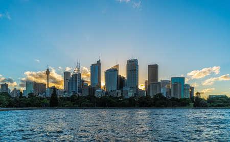 Sydney downtown skyline during sunset, NSW, Australia.