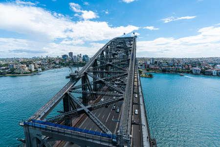 Sydney harbor bridge and Sydney skyscraper downtown skyline, Australia Editorial