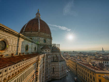 Top view of Santa Maria del Fiore duomo church and Florence old city skyline in Italy