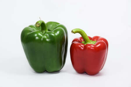 Fresh green and red bell pepper background Stock Photo