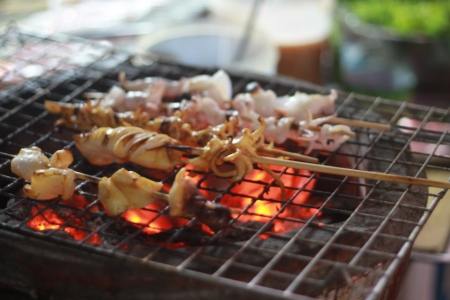 Grilled squid  Stock Photo