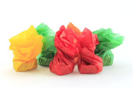 the colored candy wrapped in foil