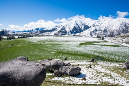 canterbury: Castle hill in winter, Southern Alps, New Zealand