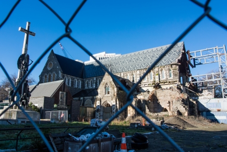 Earthquake dameged Christchurch cathedral, New Zealand