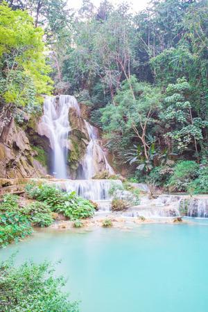 si: Kuang Si Waterfall, Luang prabang, Laos Stock Photo