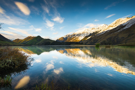 Sunrise and Reflection View of Moke Lake near Queenstown New Zealand. photo