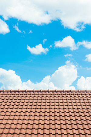 slate roof: A Roof Top with Red Tiles. Stock Photo