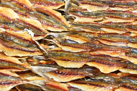 Dried fish texture in seafood market,Thailand photo