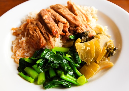 Pork stew with rice and vegetables,Thai fast food Stock Photo
