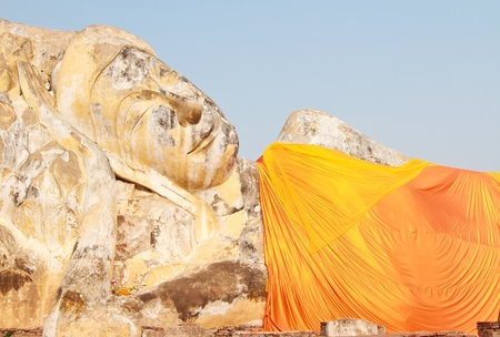 Statue of reclining buddha in ayutthaya,Thailand photo