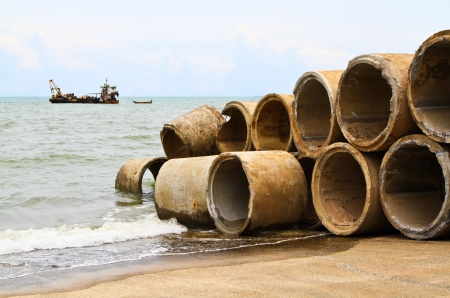culvert: Pile of a concrete culvert for into an artificial reef