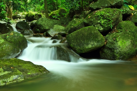 Waterfall in deep forest at national park in thailand photo