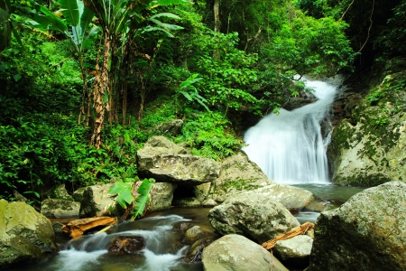 Waterfall in deep forest at national park in thailand