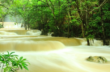Waterfall  after rain in a national park, Thailand Stock Photo