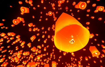 Balloons in yi peng festival at chiangmai,Thailand photo
