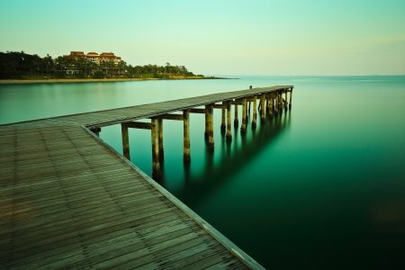 bridged: Long exposure of the jetty with evening light