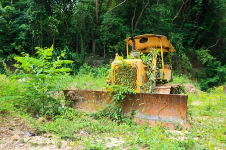 damp proofing: Old bulldozer Stock Photo