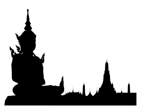 wat arun: Silhouetted of buddha sculpture