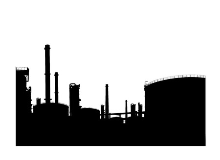 silhouetted: Silhouetted of oil refinery Illustration