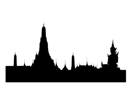 sculpture: Silhouetted of wat arun with buddha sculpture