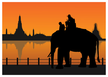 siam: Silhouetted of tourists on an elephant