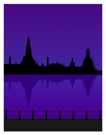 silhouetted: Silhouetted of wat arun in dusk