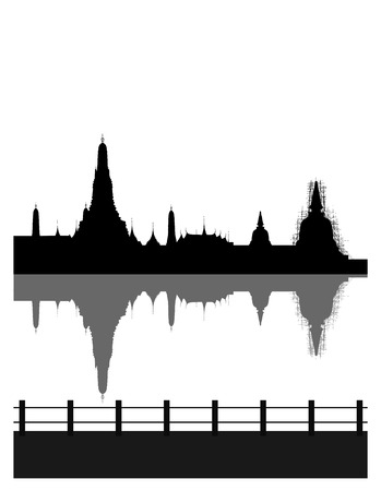 wat arun: Silhouetted of pagoda with white background
