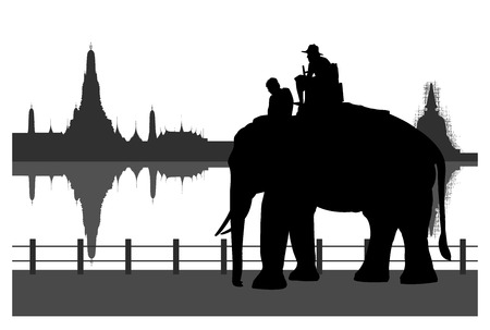 silhouetted: Silhouetted of tourists on an elephant with white background