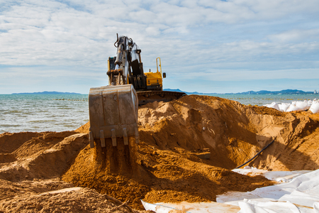 Excavator on construction site Stock Photo