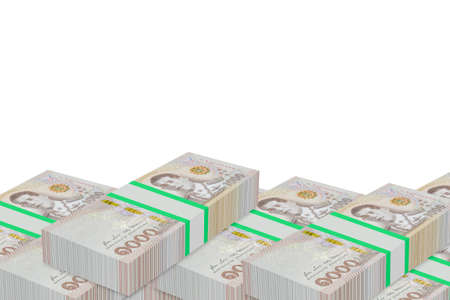 Stacks of Thailand banknote value 1000 baht isolated on white background with clipping path