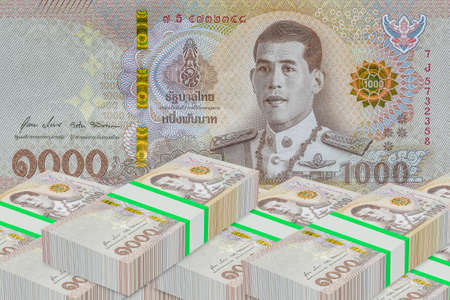 Stacks of Thailand banknote value 1000 baht