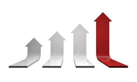 team effort: 3D arrows - growth concept leadership on White Background