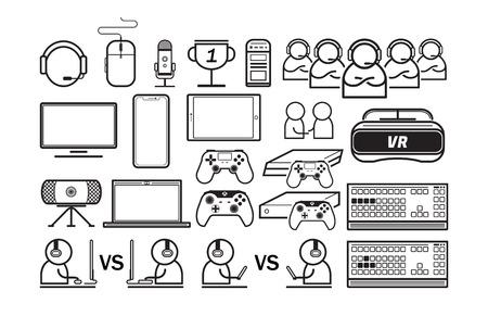 Jeu divertir des icônes de fine ligne vector illustration
