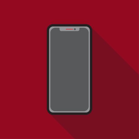 teléfono largo de fondo rojo sombra