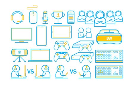 Gaming entertain thin line icons vector illustration