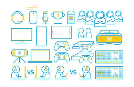 Il gioco intrattiene l'illustrazione di vettore delle icone di linea sottile Vettoriali